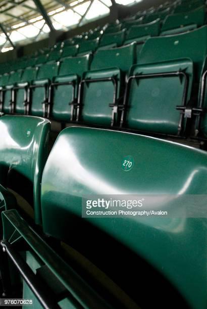 Spectator seats, No 1 Court, All England Lawn Tennis Club, Wimbledon, London, UK close up.