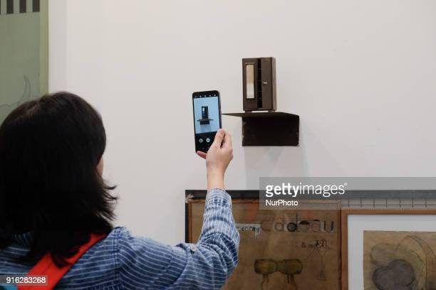 Spectator takes a photo of an art installation at the India Art Fair 2018 held on the Okhla NSIC grounds in New Delhi on February 9th, 2018. The...
