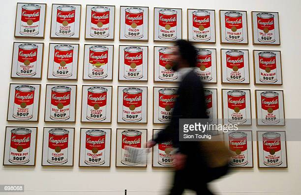 A spectator walks past 'Campbells Soup Cans' created in 1962 by artist Andy Warhol at the Andy Warhol retrospective exhibition February 5 2002 at the...