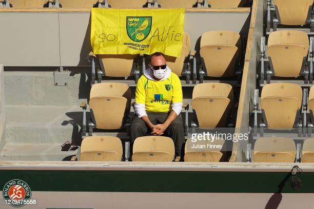 Spectator wearing Norwich City FC merchandise show their support towards Alfie Hewett of Great Britain during his Men's Wheelchair Singles Final...