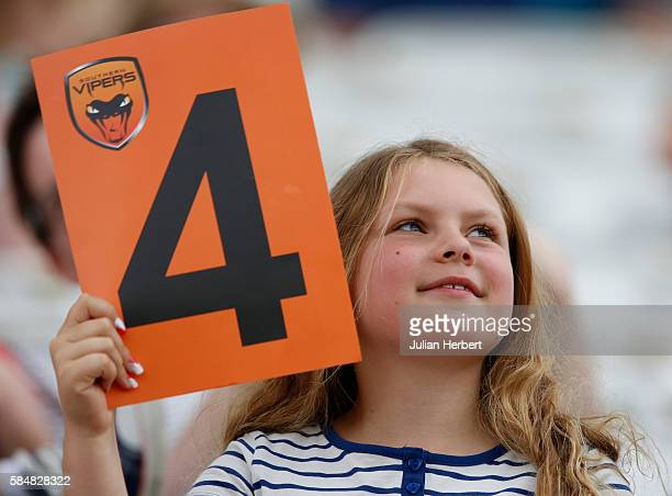 A spectator with a boundary marker flag during the Kia Super League women's cricket match between the Southern Vipers and the Surrey Stars at The...