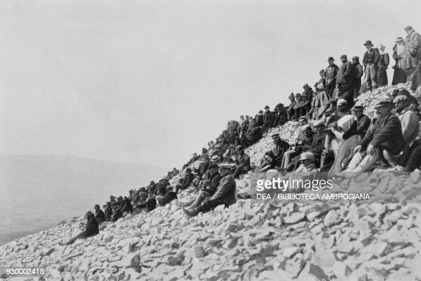Spectators along the Simplon Pass arriving on the occasion of the BrigDomodossola aircraft crossing September 23 Switzerland L'Illustrazione Italiana...