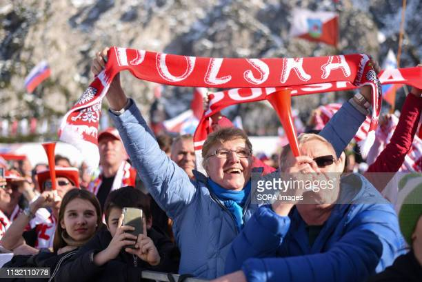 Spectators are seen cheering during the FIS Ski Jumping World Cup Flying Hill Individual competition in Planica