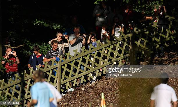 Spectators are seen during a training session on September 04, 2012 in Barsinghausen, Germany, three days before their FIFA World Cup Brazil 2014...