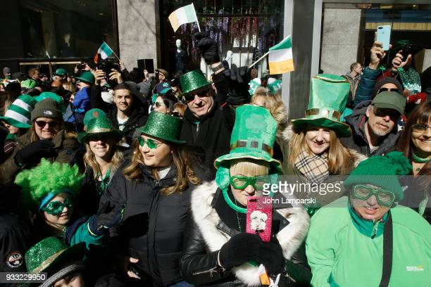 Spectators are seen during the 2018 New York City St Patrick's Day Parade on March 17 2018 in New York City