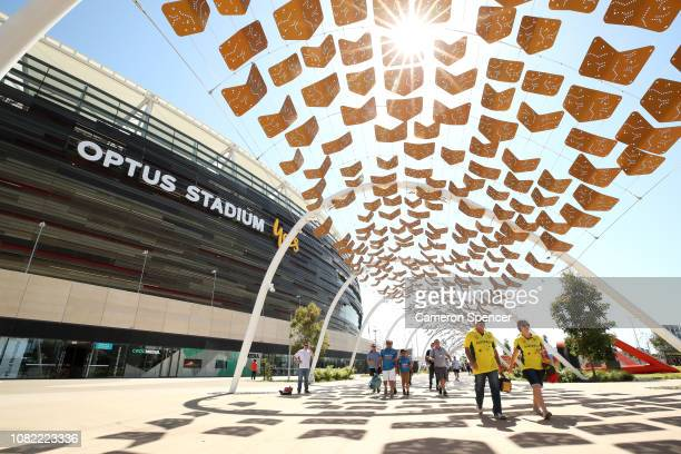 Spectators arrive at Optus Stadium for the inaugural test cricket match to be played during day one of the second match in the Test series between...