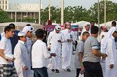 doha qatar spectators arrive at khalifa