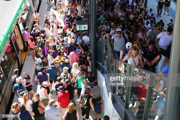 Spectators arrive by train before the round two AFLW match between the Fremantle Dockers and the Collingwood Magpies at Optus Stadium on February 10...