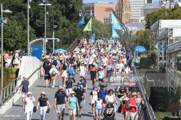 Spectators arrive for day one of the 2019 Australian Open at Melbourne Park on January 14, 2019 in Melbourne, Australia.