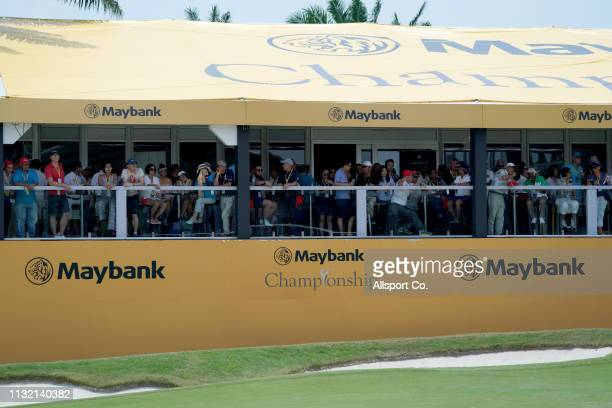 Spectators at a marquee on the 18th hole during Day Three of the Maybank Championship at Saujana Golf and Country Club on March 23 2019 in Kuala...