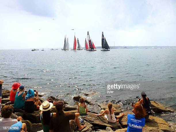 spectators at an america's cup race - newport rhode island stock pictures, royalty-free photos & images