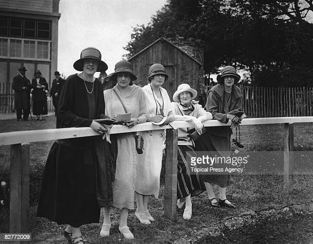Spectators at Fontwell Park Racecourse West Sussex 22nd May 1924 From left to right Miss Enid Coles Miss Viera Cotton the Honorable Barbara Frankland...