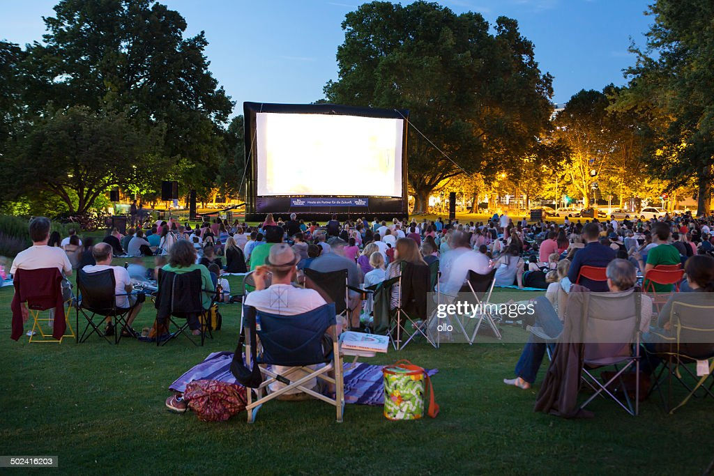 Spectators at Open-Air cinema : Stock Photo
