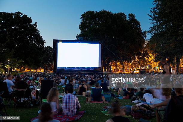 spectators at open-air cinema summer night - adult film stock photos and pictures