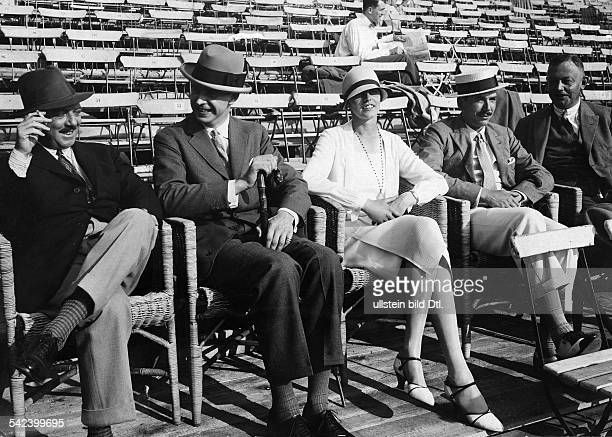 Spectators at sporting events Count HenckelDonnersmarck Baron and Baronesse GoldschmidtRothschild watching a tennis match 1926 Photographer Zander...