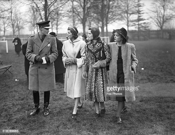 Spectators at the Boxing Day steeplechase meeting at Windsor Racecourse Berkshire 26th December 1939 Left to right Arthur Valerian Wellesley Diana...