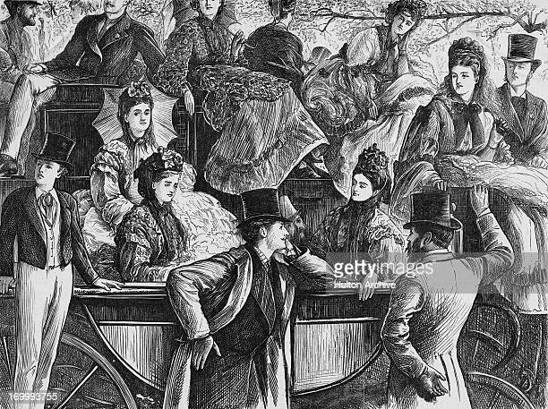 Spectators at the Eton versus Harrow cricket match at Lord's Cricket Ground London circa 1880