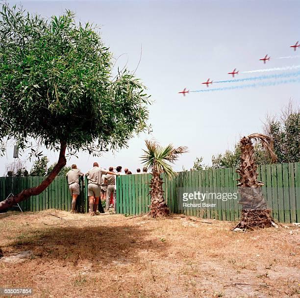 Spectators at the The Princess Margaret Hospital on the Akrotiri peninsula, about 4 kilometres from the RAF Station at Akrotiri, admire the elite...