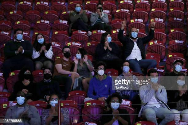 Spectators attend a comedy pilot test event at Campo Pequeno in Lisbon, Portugal, on May 9, 2021. The fourth lockdown easing pilot test event in...