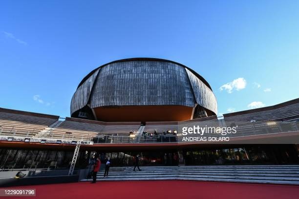 Spectators attend the screening of the film Soul during the 15th Rome Film Festival at the Auditorium Parco della Musica in Rome on October 15 2020