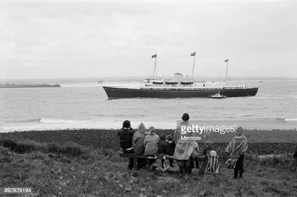 Spectators await the Royal Yacht during the Queens visit to Teesside Silver Jubilee tour 14th July 1977