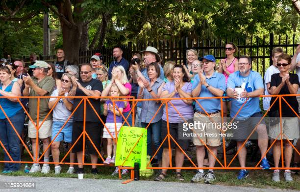 Spectators cheer as Alex Korio rounds the bend into Fort Williams park in the annual Beach to Beacon road race on Saturday August 3 2019 Korio came...
