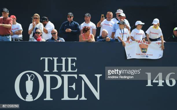 Spectators cheer for Amateur Alfie Plant of England during the final round of the 146th Open Championship at Royal Birkdale on July 23, 2017 in...