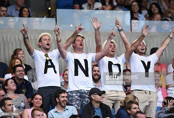 TOPSHOT Spectators cheer for Britain's Andy Murray during his men's singles match against Portugal's Joao Sousa on day six of the 2016 Australian...