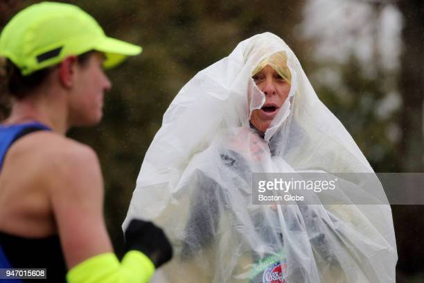 Spectators cheer on members of the elite field at Heartbreak Hill during the Boston Marathon in Newton Mass April 16 2018