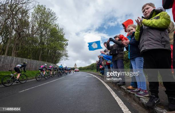 Spectators cheer riders as they climb Cote Lythe Bank during Stage 2 of the Women's race of the Tour de Yorkshire cycling race on May 04 2019 in...