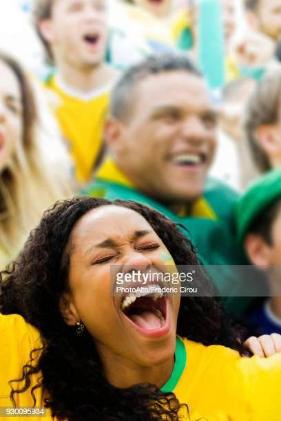spectators cheering at football match - hooligan stock-fotos und bilder