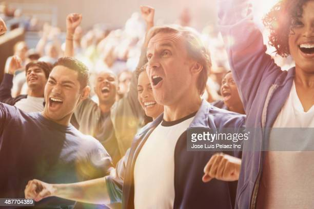 spectators cheering at sporting event - cheering stock pictures, royalty-free photos & images