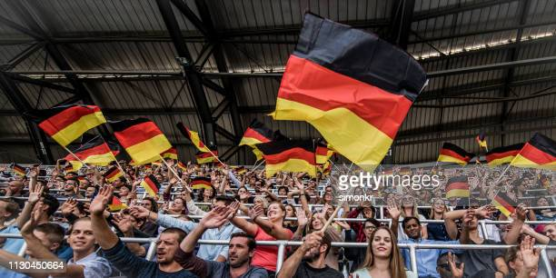 spectators cheering in stadium - german flag stock pictures, royalty-free photos & images