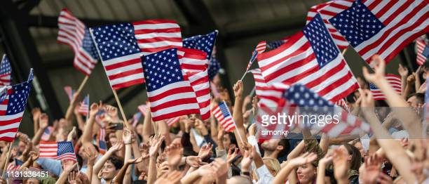 spectators cheering in stadium - stars and stripes stock pictures, royalty-free photos & images