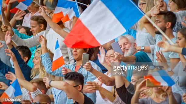 toeschouwers juichen in stadion - franse vlag stockfoto's en -beelden