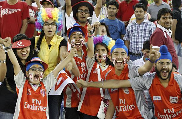Spectators cheering the players during the DLF IPL Indian Premier league 2012 match between King's XI Vs Rajasthan Royal at PCA stadium on May 5 2012.