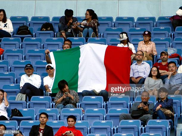 Spectators display a national flag of Italy during the match between Raven Klaasen of Republic of South Africa Melo Melo of Brazil against Simone...