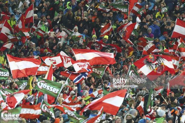 spectators during the second run of the AUDI FIS Alpine Ski World Cup Men's Slalom competition on January 29 2019 in Schladming Austria