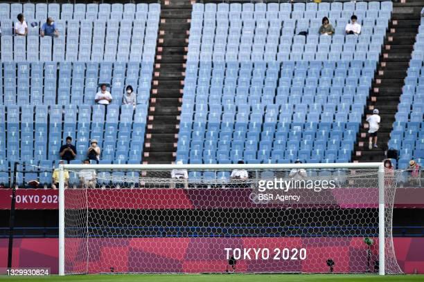 Spectators during the Tokyo 2020 Olympic Football Tournament match between China and Brazil at Miyagi Stadium on July 21, 2021 in Rifu, Japan