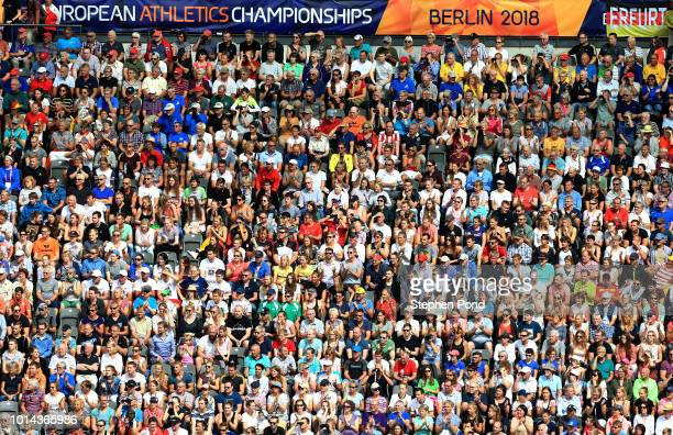 Spectators enjoy the action during day four of the 24th European Athletics Championships at Olympiastadion on August 10 2018 in Berlin Germany This...