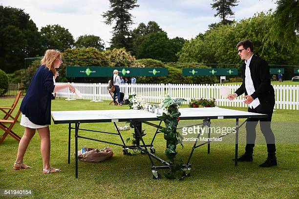 Spectators enjoy the atmosphere during day one of The Boodles Tennis Event at Stoke Park on June 21, 2016 in Stoke Poges, England.