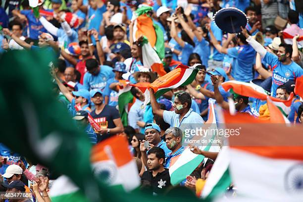 Spectators enjoy the atmosphere during the 2015 ICC Cricket World Cup match between India and Pakistan at Adelaide Oval on February 15 2015 in...