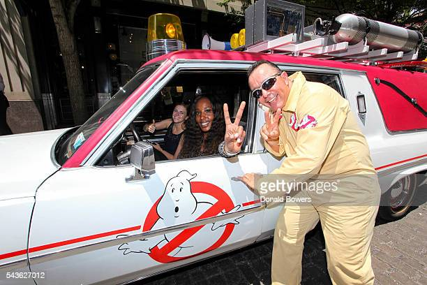Spectators enjoy the front seat during Lyft Ghost Mode In Partnership With Sony And Ghostbusters on June 29 2016 in New York City