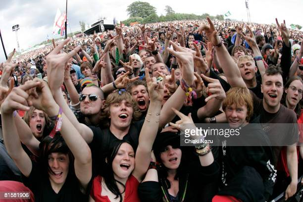 Spectators enjoy the show at Day 3 of Download Festival on June 15 2008 at Castle Donington in Donington on Bain England