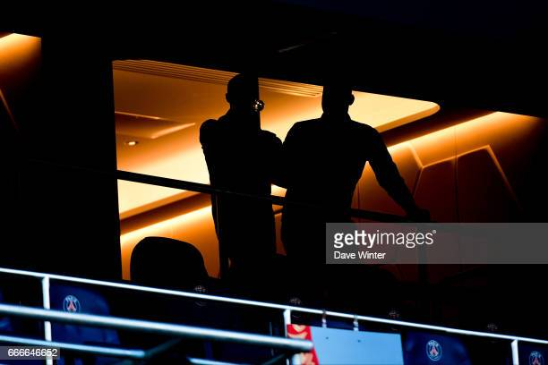 Spectators enjoying a glass of wine in the corporate hospitality boxes during the French Ligue 1 match between Paris Saint Germain PSG and En Avant...