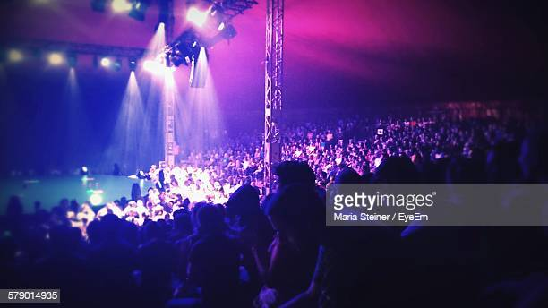 spectators enjoying circus - circus stock pictures, royalty-free photos & images
