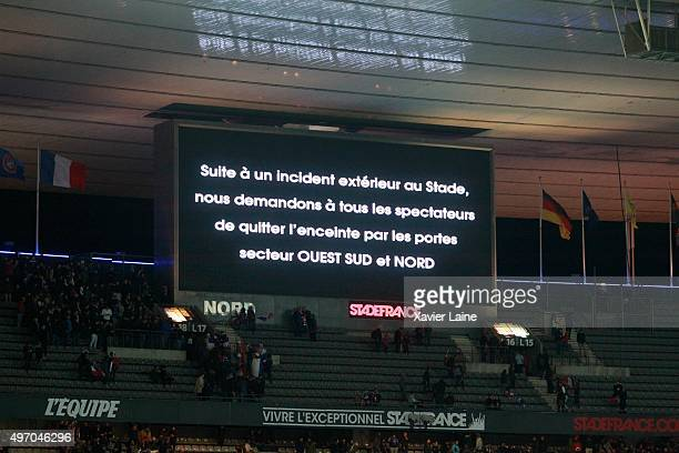 Spectators exit the stands of the during the International Friendly game between France and Germany at Stade de France on November 13 2015 in Paris...