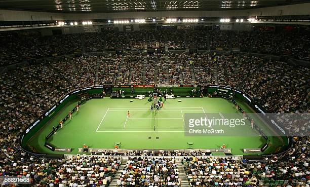 Spectators fill Rod Laver Arena for the Women's Singles Final match between Justine HeninHardenne of Belguim and Amelie Mauresmo of France during day...