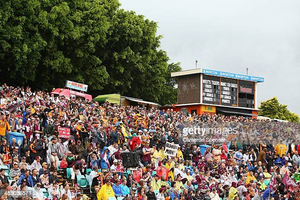 Spectators fill the Eastern hill during the round five NRL match between the Wests Tigers and the ManlyWarringah Sea Eagles at Leichhardt Oval on...