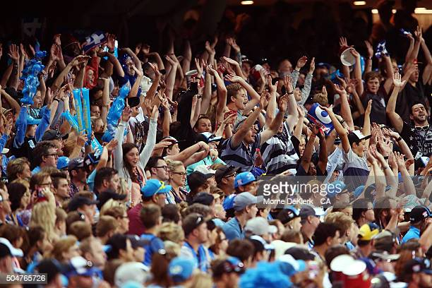 Spectators form a mexican wave during the Big Bash League match between the Adelaide Strikers and the Hobart Hurricanes at Adelaide Oval on January...